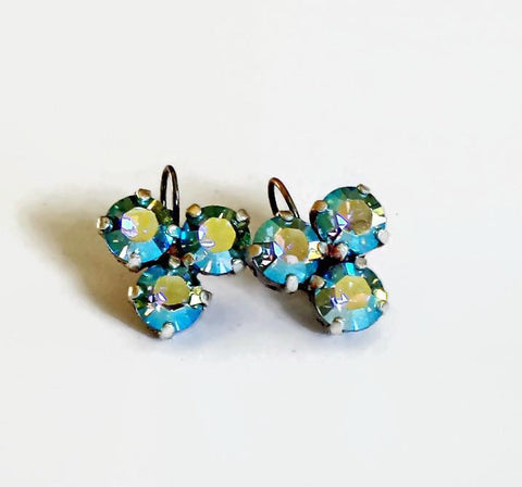 Swarovski crystal 8mm three stone leverback drop earrings aquamarineAB-Cubrik Store