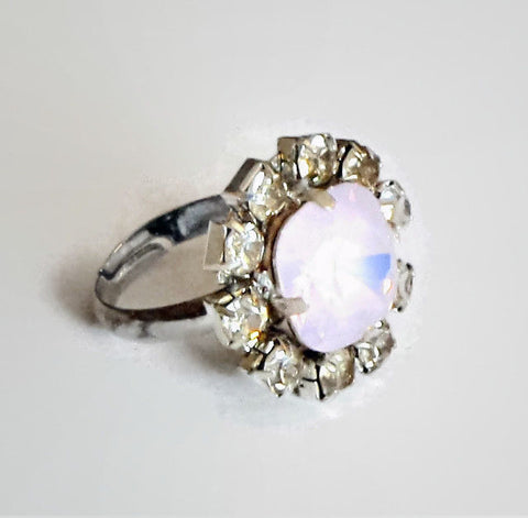 Swarovski crystal 12mm fancy square stone ring rose water opal-Cubrik Store