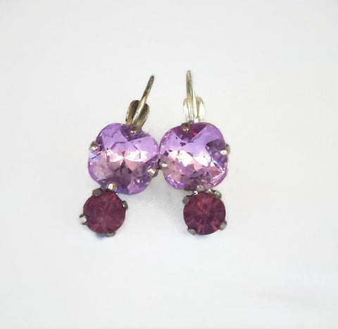 Swarovski crystal 10mm square fancy stone drop earrings violet/cyclamen opal-Cubrik Store