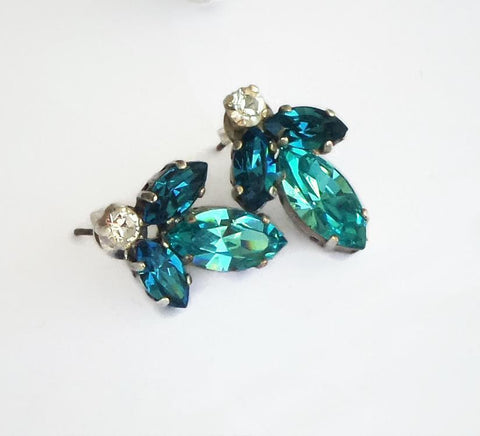 Swarovski crystal stud and drop fancy stone earrings light turquoise/indicolite-Cubrik Store