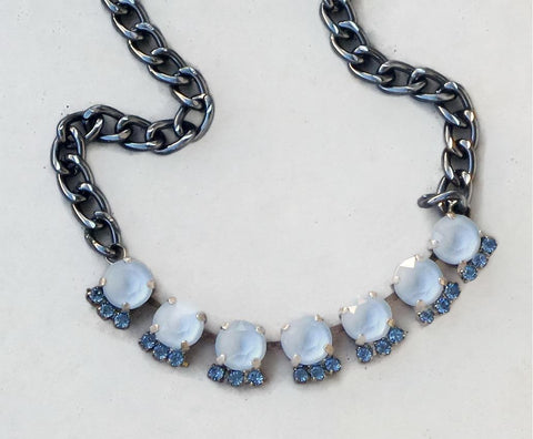 Swarovski crystal 8mm tennis style necklace powder blue and light sapphire-Cubrik Store