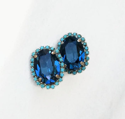 Swarovski crystal 18X13mm oval fancy stone earrings montana & turquoise clip on-Cubrik Store