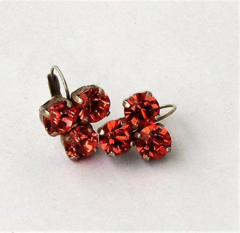 Swarovski crystal 8mm three stone leverback drop earrings padparadchsa red-Cubrik Store