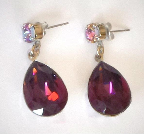 Swarovski crystal 18X13mm amethyst & vitrail fancy stone pear drop earrings-Cubrik Store