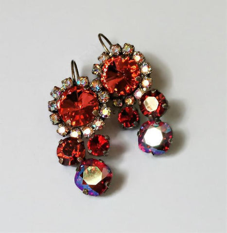 Swarovski Crystal multistone padparadchsa and scarlet red statement earrings-Cubrik Store