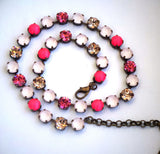 Swarovski Crystal 8mm fancy stone tennis style necklace with pink neon pearls-Cubrik Store
