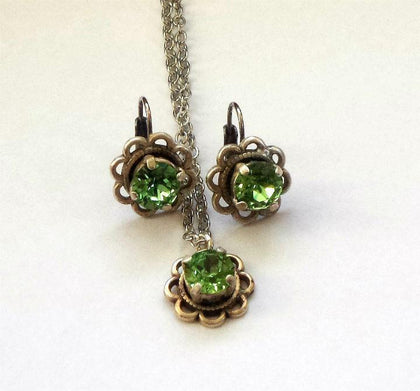 Swarovski crystal 8mm fancy stone two piece set earrings & pendant peridot-Cubrik Store