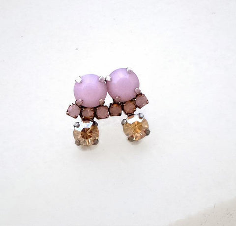 Swarovski crystal stud and drop fancy stone earrings rose alabaster-Cubrik Store