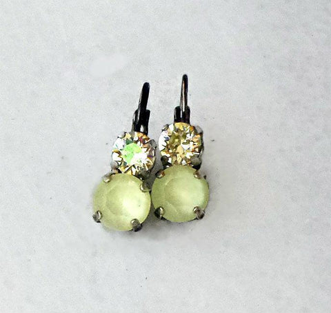 Swarovski crystal leverback fancy stone earrings powder yellow & lemon jonquil-Cubrik Store