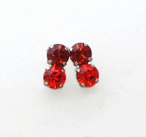Swarovski crystal 8mm round fancy stone stud earrings indian red/ hyakinth-Cubrik Store