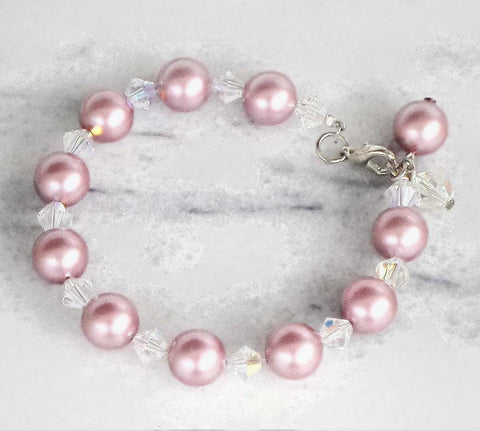 Pretty Swarovski crystal and 10mm crystal pearl bracelet powder rose-Cubrik Store