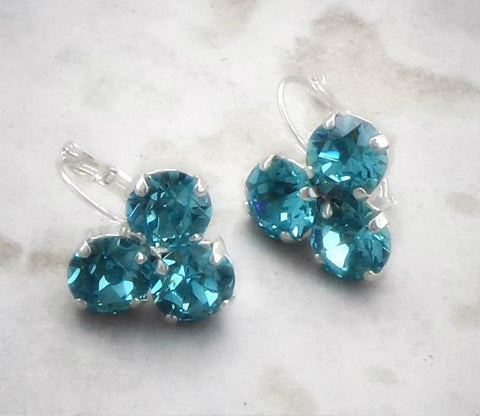 Swarovski crystal light turquoise fancy 8mm leverback drop three-stone earrings-Cubrik Store