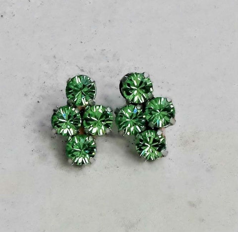 Swarovski crystal 6mm four stone stud earrings green peridot-Cubrik Store