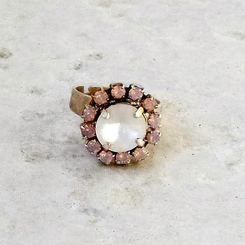 Swarovski crystal fancy stone 10mm rivoli ring crystal matte and rose water opal-Cubrik Store