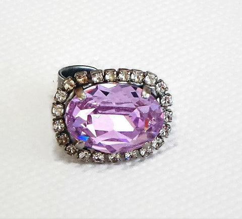 Swarovski crystal 18X13mm oval fancy stone ring violet and clear crystal-Cubrik Store