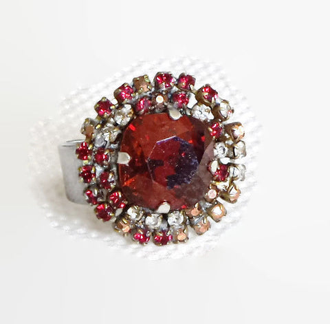 Swarovski crystal 12mm fancy square stone ring ruby red and multi strass-Cubrik Store