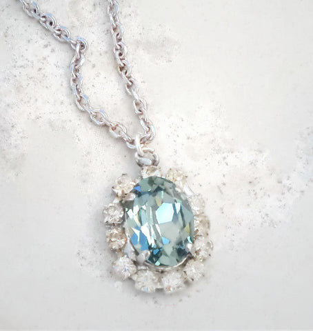 Swarovski crystal oval fancy stone pendant indian sapphire and clear crystal-Cubrik Store
