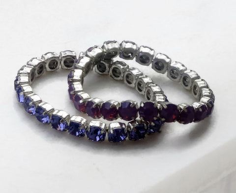 Σετ 2 τεμάχια Swarovski crystal stretchy tennis bracelets cyclamen opal and tanzanite-Cubrik Store