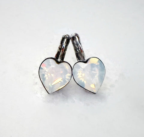 Valentine's Swarovski crystal 11X10mm white opal heart fancy stone earrings-Cubrik Store