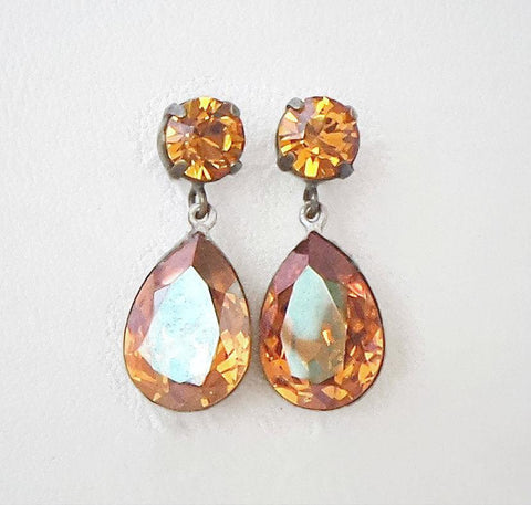 Swarovski crystal 18X13mm pear fancy stone stud and drop earrings crystal copper-Cubrik Store