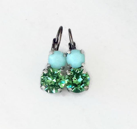Swarovski crystal leverback fancy stone earrings erinite and mint alabaster-Cubrik Store