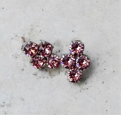 Swarovski crystal 6mm four stone stud earrings light rose-Cubrik Store