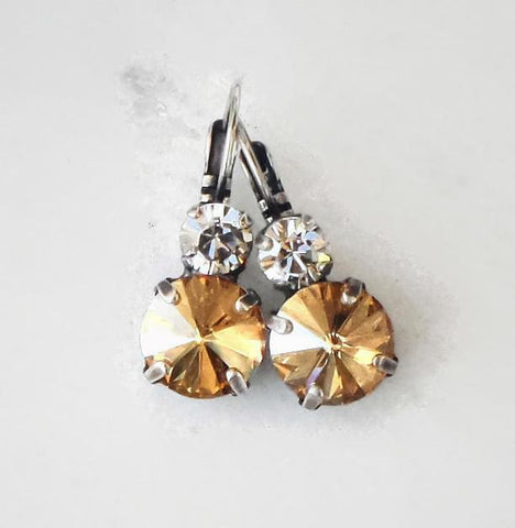 Swarovski crystal 10mm fancy double stone leverback earrings golden shadow-Cubrik Store
