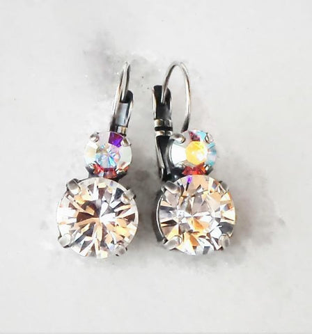 Swarovski crystal 10mm fancy double stone leverback earrings clear crystal-Cubrik Store