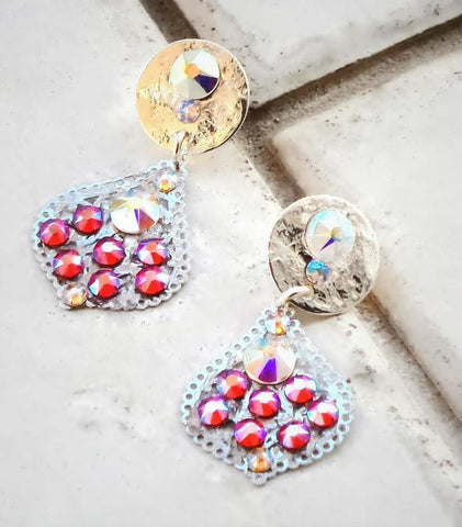 Swarovski crystal stud & drop chandelier earrings hyakinth shimmer effect-Cubrik Store