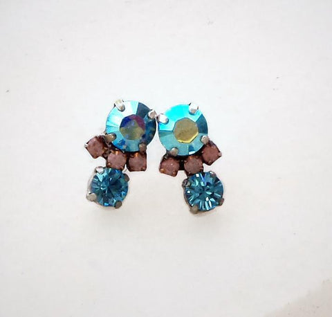 Swarovski crystal stud and drop fancy stone earrings aquamarineAB-Cubrik Store