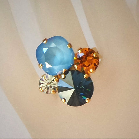 Swarovski crystal multi fancy-stone ring summer blue,montana,topaz-Cubrik Store
