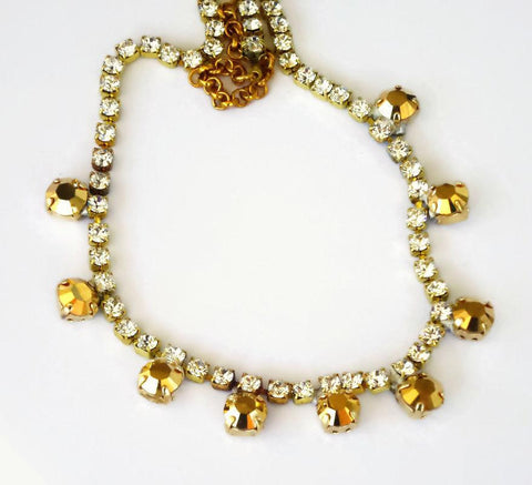 Swarovski crystal vintage strass chain necklace clear crystal ,gold aurum-Cubrik Store