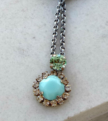 Swarovski crystal fancy multistone pendant necklace mint green and chrysolite-Cubrik Store
