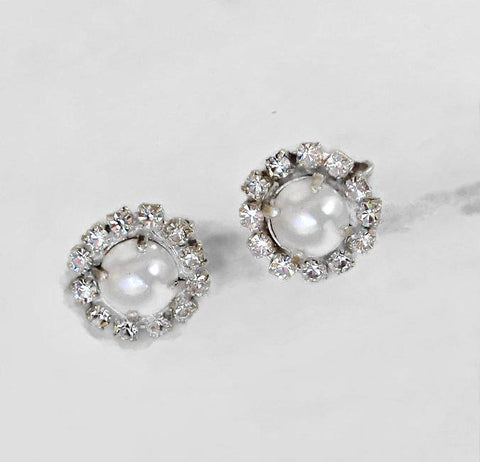 Swarovski crystal 10mm crystal pearl earrings clip on white and clear crystal-Cubrik Store