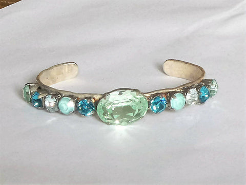 Swarovski crystal fancy stone green and blue multicolour cuff bracelet-Cubrik Store