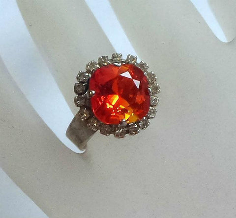 Swarovski crystal 12mm square fancy stone ring fire opal & clear crystal-Cubrik Store