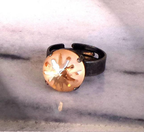 Swarovski crystal 14mm sea urchin fancy stone ring golden shadow semi-frosted-Cubrik Store