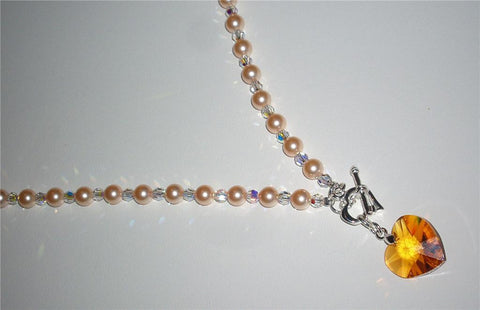 Swarovski crystal peach pearl and crystal necklace-Cubrik Store