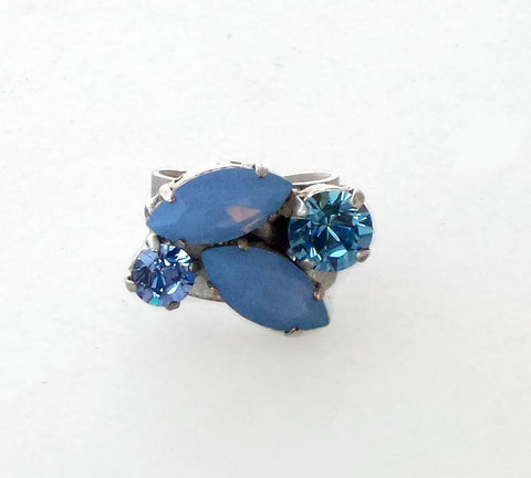 Swarovski crystal air blue opal and aquamarine navette multistone ring-Cubrik Store