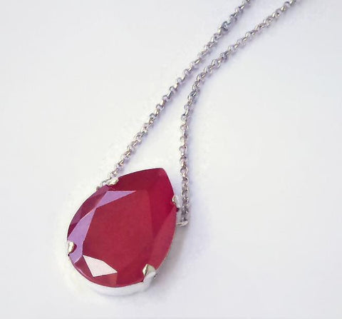 Swarovski crystal 30X20mm fancy stone pear pendant royal red lacquer finish-Cubrik Store