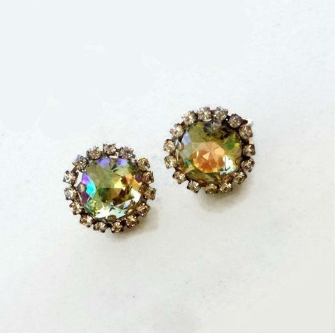 Swarovski crystal 12mm fancy square clipon earrings luminous green/clear crystal-Cubrik Store