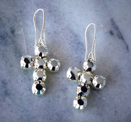 Swarovski crystal fancy stone drop cross earrings crystalCAL-Cubrik Store