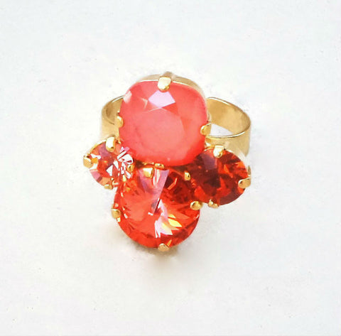 Swarovski crystal multi fancy-stone ring red padparadchsa,coral red ,indian red-Cubrik Store