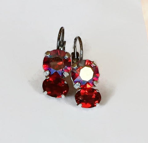 Swarovski crystal light siam shimmer and red scarlet leverback drop earrings-Cubrik Store