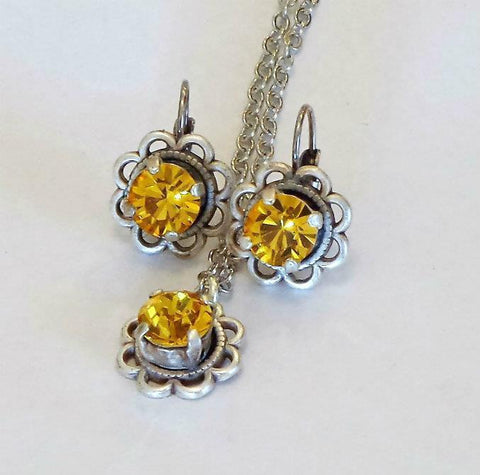 Swarovski crystal 8mm fancy stone two piece set earrings and pendant sunflower-Cubrik Store