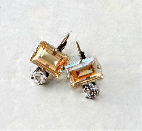 Swarovski crystal 14x10mm step cut drop fancy stone earrings golden shadow-Cubrik Store