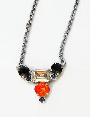 Swarovski crystal multistone pendant necklace silver shade and fire opal-Cubrik Store