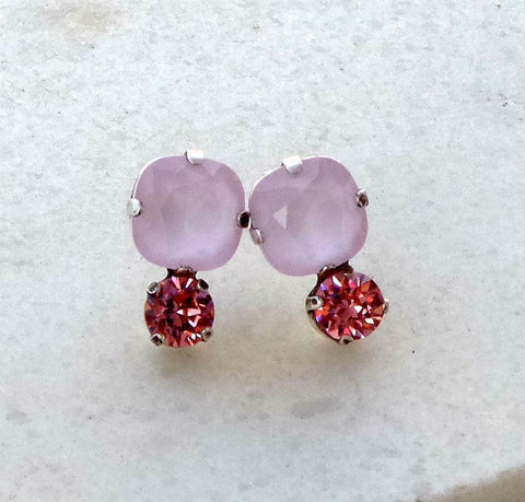 Swarovski crystal 10mm square fancy stone stud earrings powder pink/rose-Cubrik Store