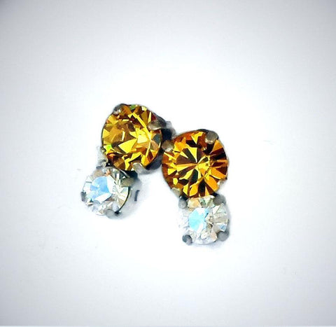 Swarovski crystal 8mm round fancy stone stud earrings light topaz/ moonlight-Cubrik Store
