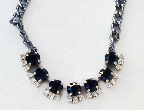 Swarovski crystal 8mm tennis style necklace jet black and clear crystal-Cubrik Store